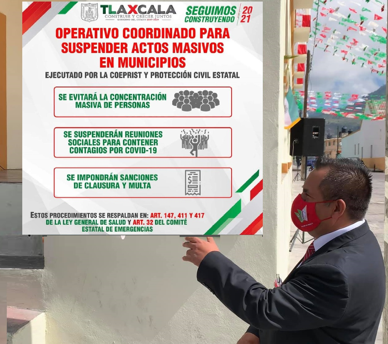 Habrá multas y sanciones a quien organice eventos durante pandemia, advierte Gobierno de Atltzayanca