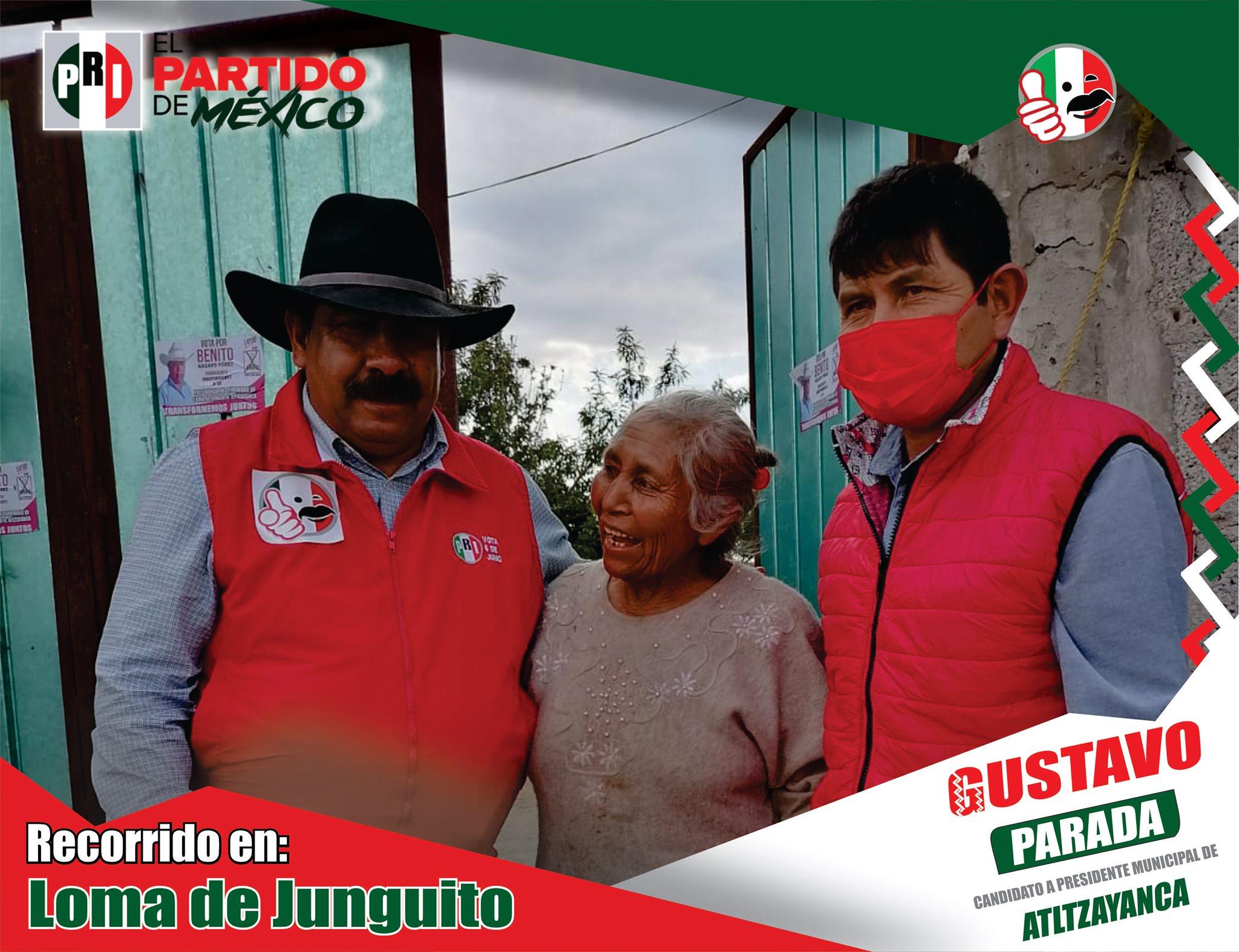 Con paso firme y sin titubear, así recorre Gustavo Parada las comunidades de Atltzayanca