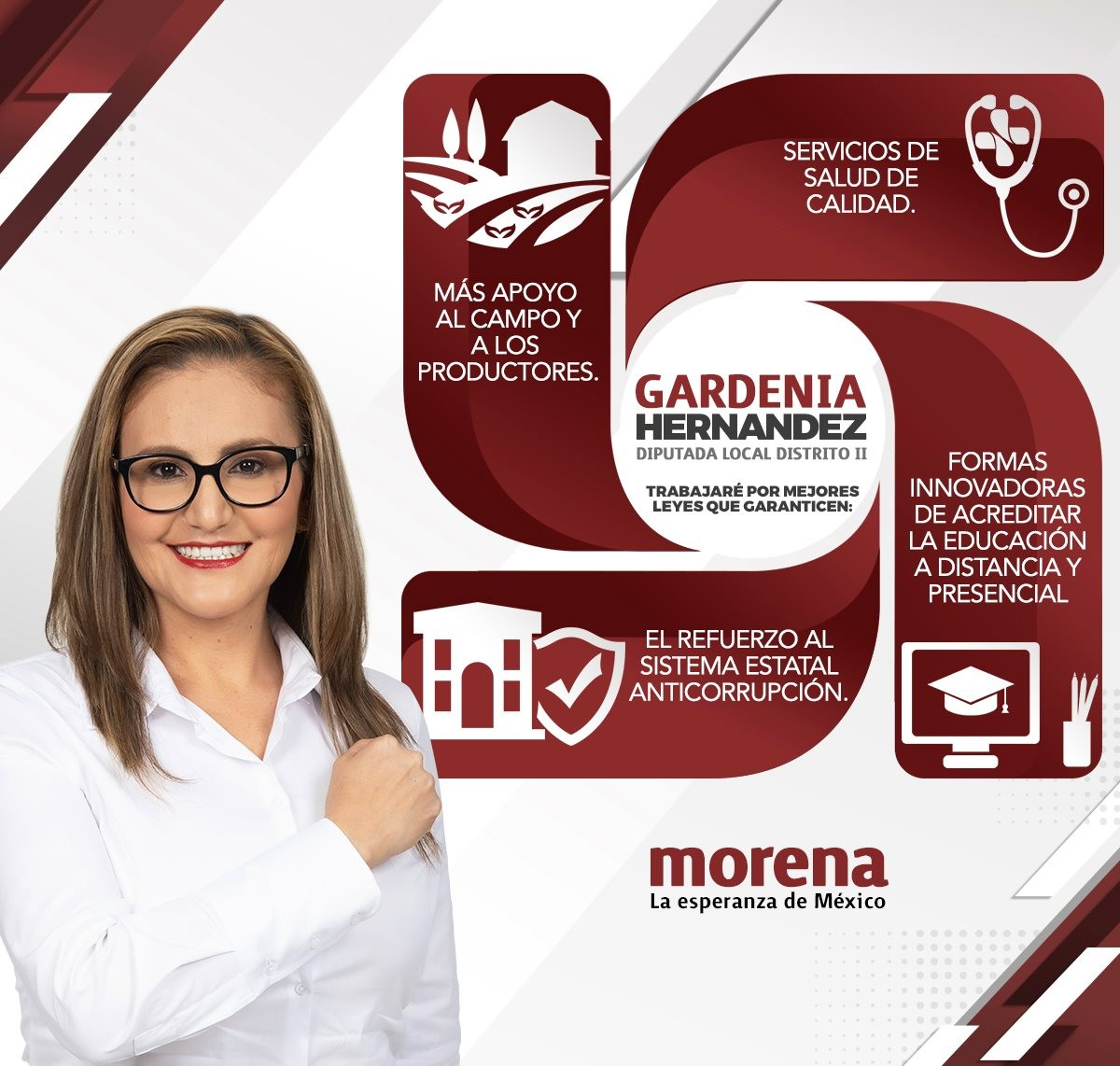 GARDENIA HERNÁNDEZ basa sus propuestas legislativas en cuatro ejes: campo, salud, educación y anticorrupción