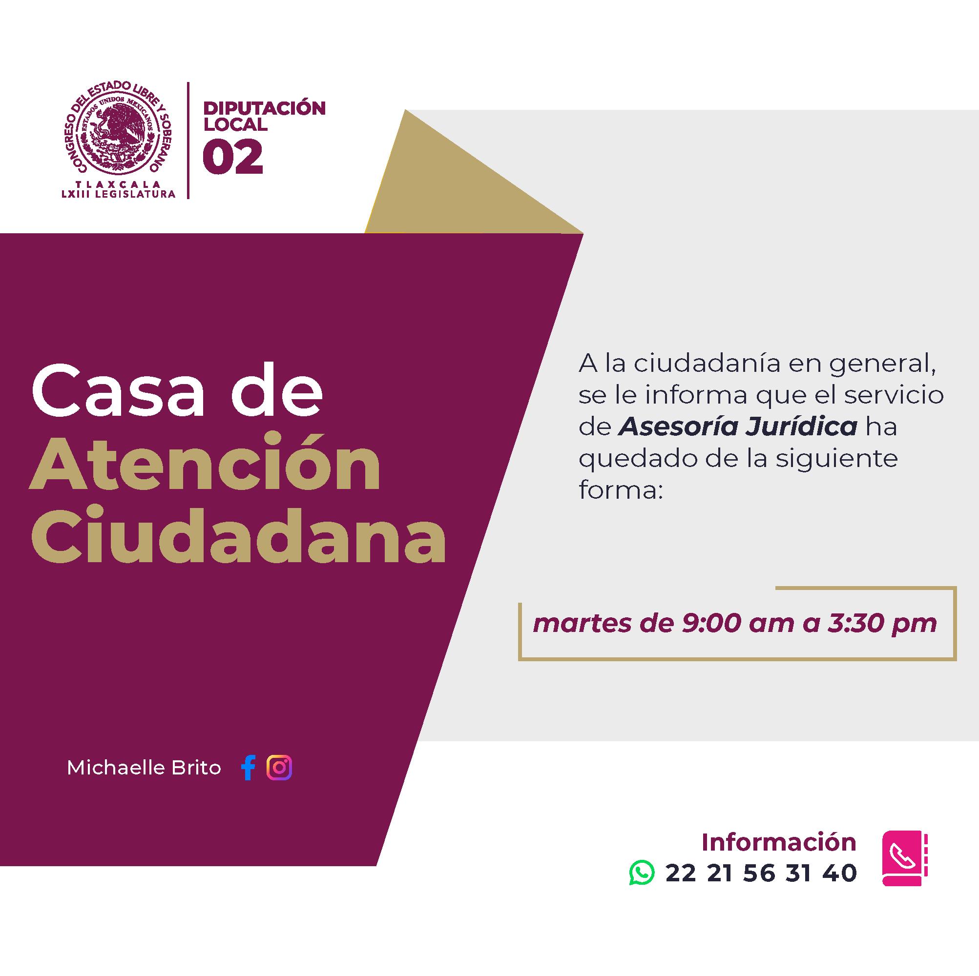Michaelle Brito Vázquez re apertura el servicio de Asesoría Jurídica