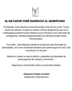 OPERAN AL MATADOR DE TOROS JOSE MAURICIO
