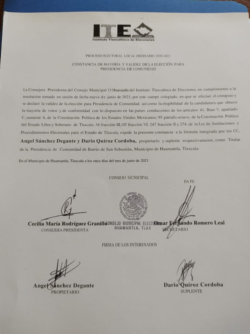 -Resuelve el Tribunal Electoral medios de impugnación de las comunidades de Yancuitlalpan, San Sebastián, La preciosa y San José del Municipio de Huamantla.