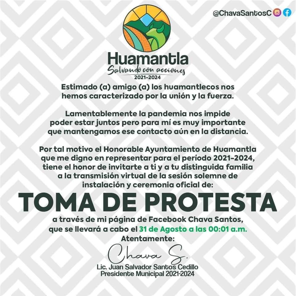 Chava Santos tomará protesta como alcalde de Huamantla en los primeros minutos de este martes