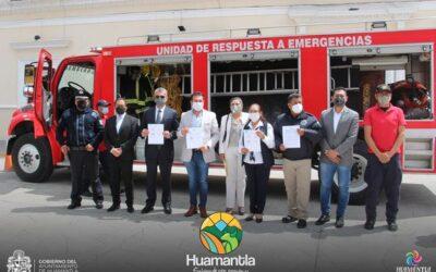 El Ayuntamiento de Huamantla recibe camión de bomberos a través del convenio suscrito con Seguridad Pública del Estado.