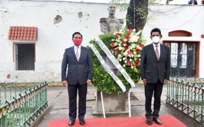 Jorge Corichi, presidente municipal de Tlaxcala, montó una Guardia de Honor para conmemorar el CLXXIV aniversario luctuoso del coronel Felipe Santiago Tetlamatzi Saldaña