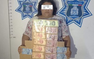 Mujeres en posesión de papel moneda son aseguradas en Huamantla