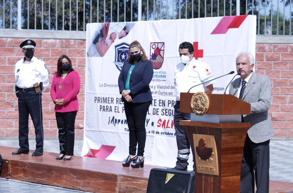 Reciben policías de Chiautempan curso sobre primeros auxilios de la Cruz Roja