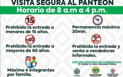 Abrirán panteones municipales de Huamantla este 1 y 2 de noviembre, pero con restricciones.
